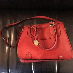 London Fog • red leather crossbody satchel purse